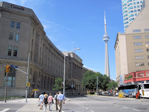 Photo: Crossing the street toward the Public Building on the left. CN Tower in the distance.