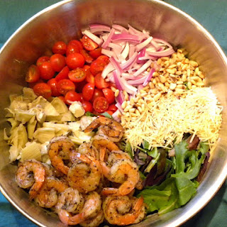Shrimp And Artichoke Salad With Homemade Vinaigrette Dressing.