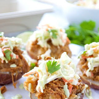 Chipotle Pulled Pork Stuffed Potatoes with Creamy Coleslaw