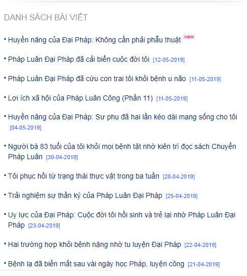 Tiêu đề một số bài viết trên Minghui (Minh Huệ).Website quảng bá chính thức của Pháp Luân Công