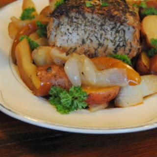 Maple Pork Loin Roast with Apples and Vegetables Recipe