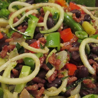 Pesto Vegetables with Black Beans and Rice.