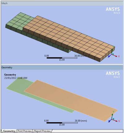 ANSYS Оболочечная модель с заданными толщинами и построенная по ней сетка конечных элементов