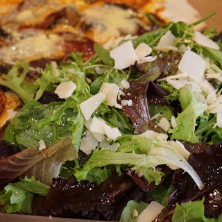 Basic Pizza mixed greens salad with Parmesan cheese recipe .