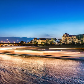 Night Time on the Elbe by Mike Moss - Landscapes Waterscapes ( berlin-warsaw )