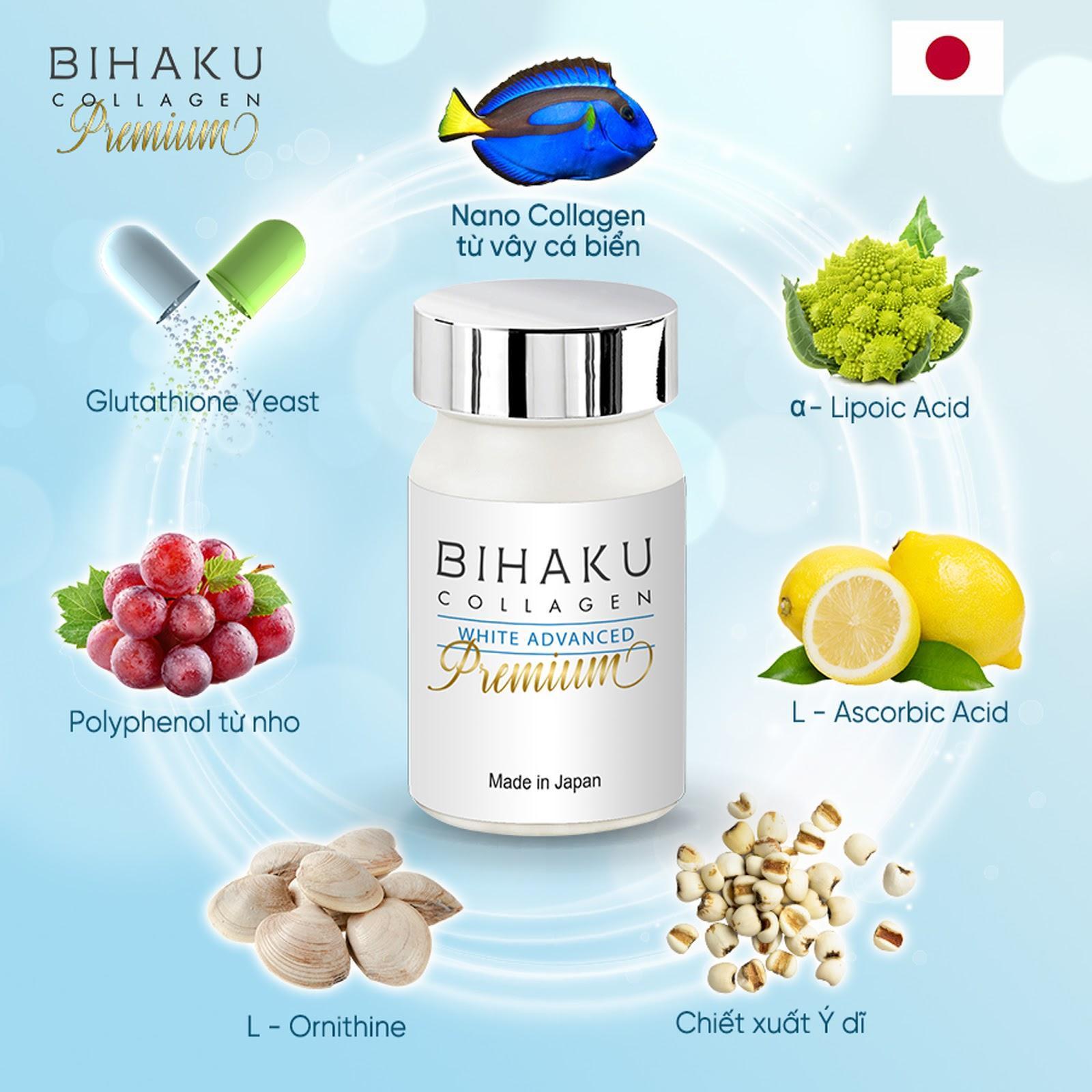 Viên uống trắng da Bihaku Collagen Premium – Giải Cứu Làn Da
