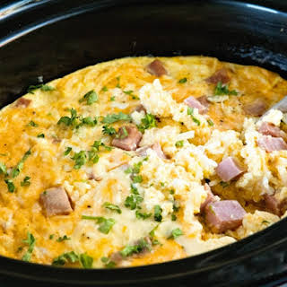 Cheesy Ham Crock Pot Breakfast Casserole.