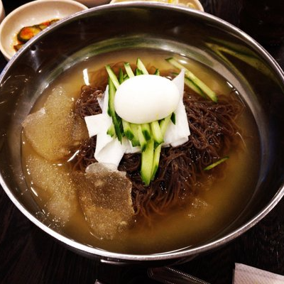 Cold Wheat & Buckwheat Noodle in Beef Broth
