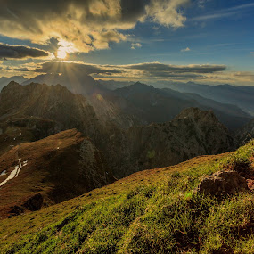 Sunset on Pass by Bor Rojnik - Landscapes Mountains & Hills ( clouds, mangart, mountain, saddle, sunset, slovenia, tranquility, high, julian alps, places, alps, pass )