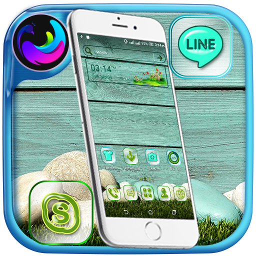 Cyan Wooden Launcher Theme Icon
