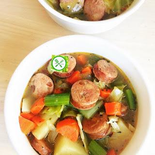 Potato, Sausage And Cabbage Soup.