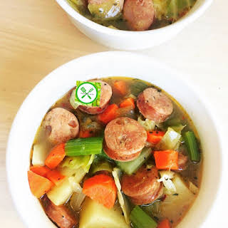 Potato, Sausage And Cabbage Soup.