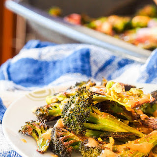 Vegan Roasted Broccoli Steaks with Pistachios and Tahini Sauce {GF}.
