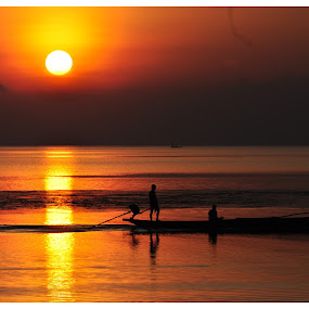 The Begining by Subroto Mukherjee - Landscapes Waterscapes ( sea, horizon, sunrise, boat, golden )