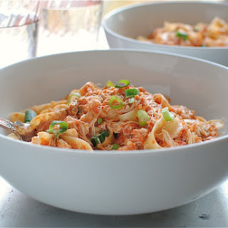 Creamy Tomato and Crab Fettuccine
