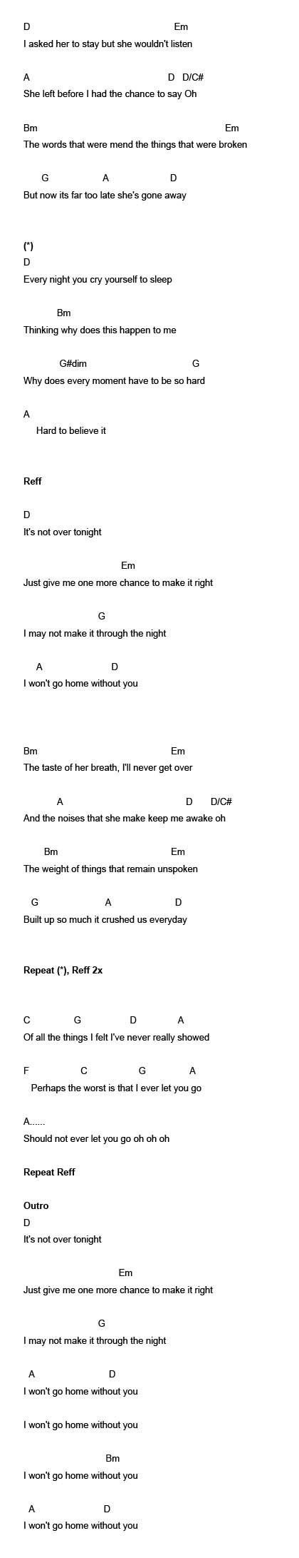Lirik Lagu Won T Go Home Without You