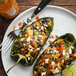 Chorizo & Black Bean Stuffed Poblano Peppers (Gluten-Free)