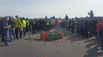 Pequeñas hogueras y montones de hortalizas han ocupado la autovía.