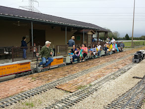 Photo: Bob Barnett, Engineer and Dennis Profota, Conducor with others looking on - HALS Public Run Day 20150321 Bill Smith Photo