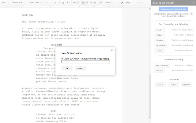 Screenplay Formatter  Google Docs AddOn