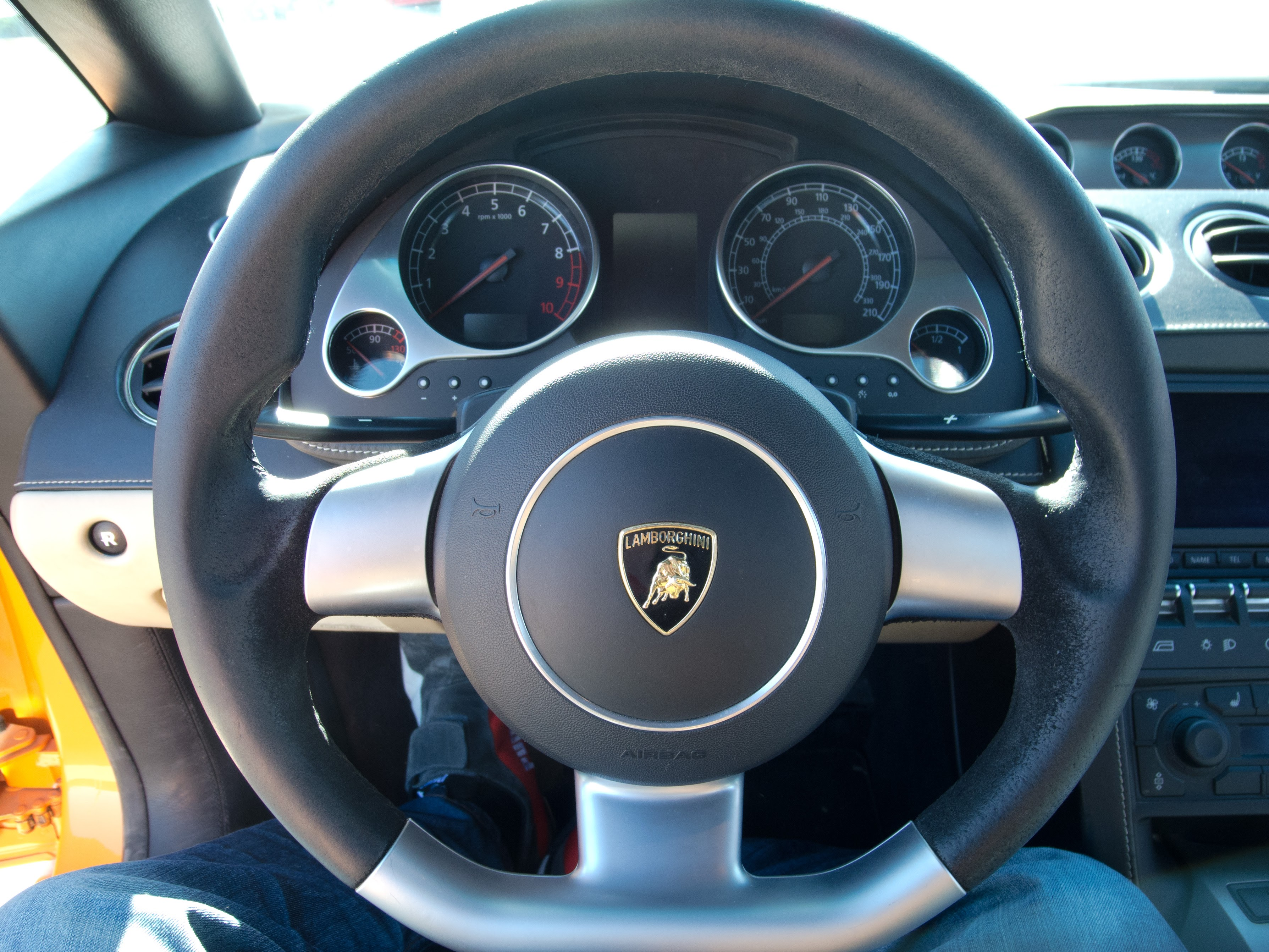 Photo: Gallardo instrument cluster. The tach and speedo are very small compared to the Ferraris.