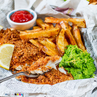 Baked Fish and Chips with Lemon Smashed Peas Recipe