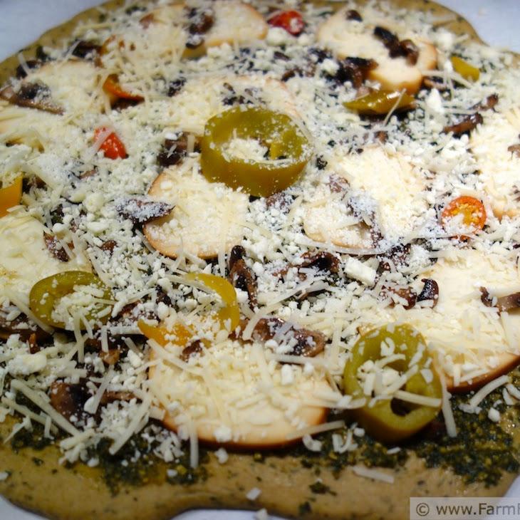 Smoked Mozzarella, Feta, Mushroom and Pickled Pepper Pesto Pizza