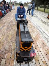Photo: Engineer Rich Businger on his loco.    HALS Public Run Day 2014-1115 RPW
