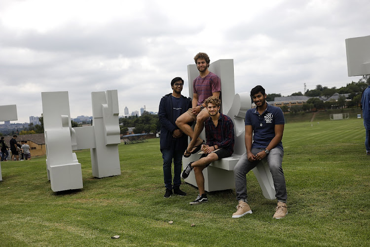 Top matric achievers Ijaz Ahmed, Lukas van der Merwe, Jason Brown and Kylen Govender pose for a picture at St Stithians Boys' College in Johannesburg.