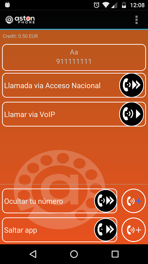 AstonPhone: captura de pantalla