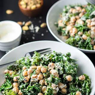 Healthy Charred Kale Caesar Salad.