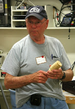 Photo: Bob Browning made a huge holly honey dipper!  Well, not really...  it's a meat mallet for the Mallet Challenge.