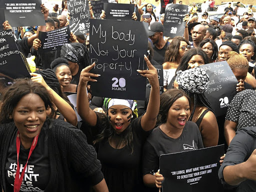 University of Fort Hare students marching outside the East London campus on Wednesday to highlight the issue of gender-based violence./SINO MAJANGAZA