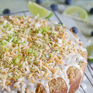 Blueberry, Lime and Coconut Breakfast Cake.