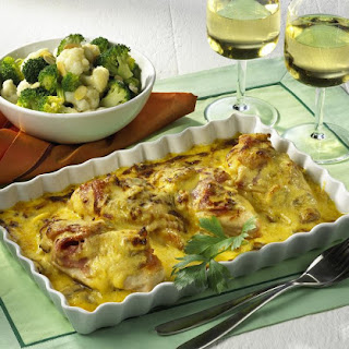 Chicken Gratin with Cauliflower and Broccoli.