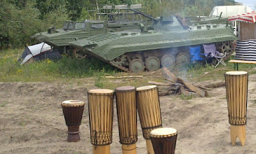 Photo: east german tank, drums, campfiere