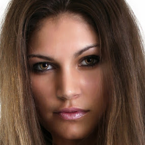 Crystal's Eyes by Len Lambert - People Portraits of Women ( straight hair, gorgeous, woman, mesmerizing, hair, portrait, eyes,  )