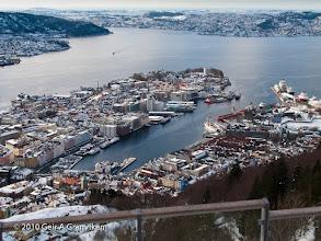 Photo: The city off Bergen, from Fløyen