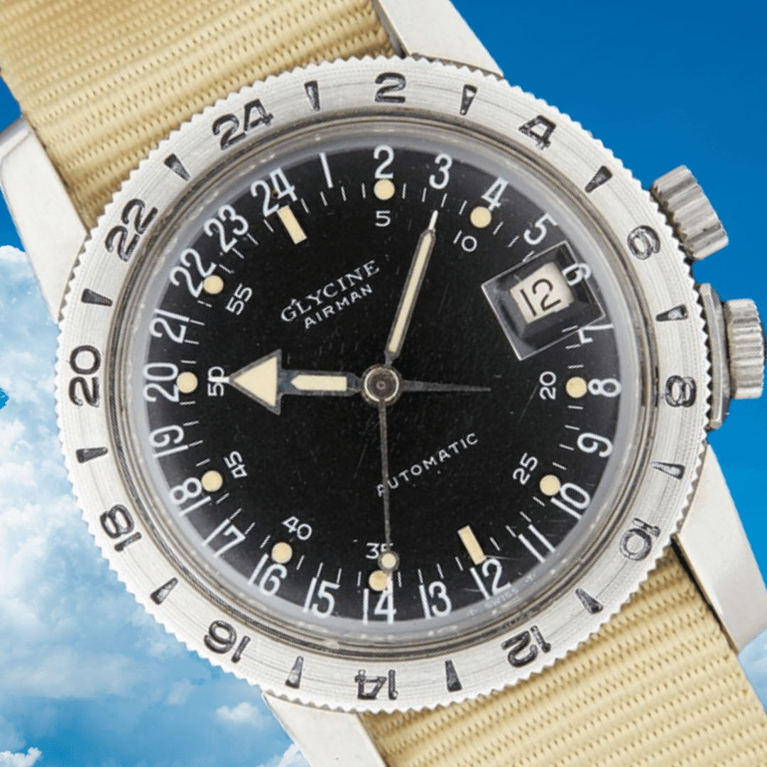 A close up photo of a Glycine Airman watch