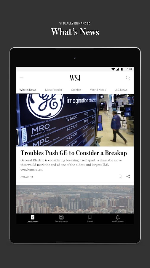 The Wall Street Journal: Business & Market News: captura de pantalla