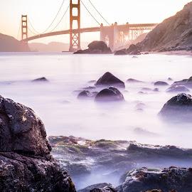 Golden Gate Bridge by Chris Shaffer - Landscapes Travel ( water, golden gate bridge, ocean, bridge, beach,  )