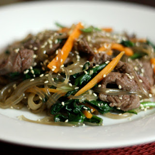 Korean Japchae (Noodles with Spinach, Carrot, and Beef).