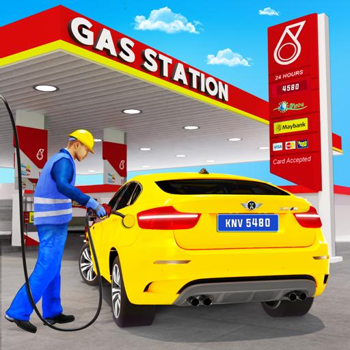 posto de gasolina simulador de condução de carro