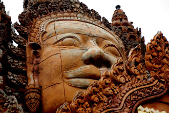 Photo: Year 2 Day 39 - Beautifully Carved Buddha on Wat in Moung Ruessie