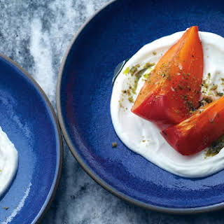 Persimmons with Greek Yogurt and Pistachios.