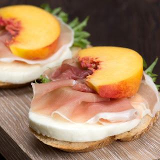 Peach, Parma Ham and Mozzarella Bruschetta.
