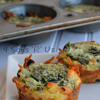 Spinach & Herbed Goat Cheese Hashbrown Nests