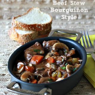 Beef Stew Bourguignon Style