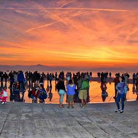 pozdrav suncu by Jelena Puškarić - City,  Street & Park  Street Scenes ( nature, sunset, people, sea )
