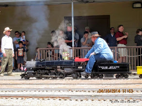 Photo: Station Master Barry Tobias and Engineer Pete Greene      HALS Public Run Day 2014-0419 DH3